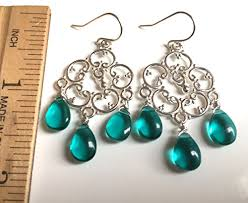 teal countryside chandelier earrings in silver or rose gold handmade 2dikwi1y5