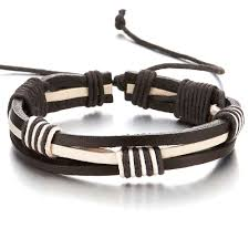 details about mens black white braided leather wrap bracelet genuine leather wristband