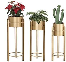<b>Plant Stand Set</b> - <b>3</b>-Piece Modern Planter with Tall Metal Stand ...