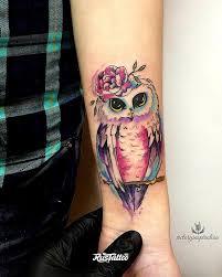 фото татуировки сова в стиле авторский акварель графика скетч стайл