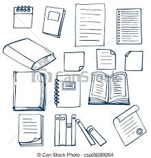 hand drawn book doents notebook and sheets of paper csp28289264