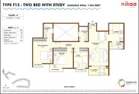 nikoo homes 3bhk floor plan