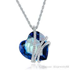whole 9 heart swarovski crystal necklaces high grade brief paragraph heart shaped pendant crystal necklace women s jewelry silver pendant necklace gold