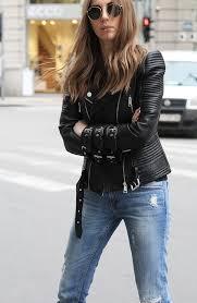 textured leather biker jacket
