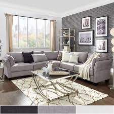 Elize L-Shaped 5-Seat Linen Fabric Modular Sectional Seating by Inspire Q  (White Linen). Living Room ...