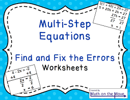 multi step equations find and fix the errors worksheet solving pre algebra 1c83b383ebe03f70a2ca9a2fc