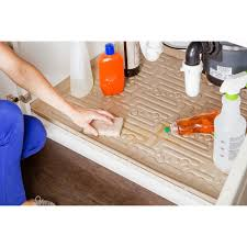 this review is from beige kitchen depth under sink cabinet mat drip tray shelf liner 33 5 8 in x 21 7 8 in