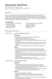 Curriculum And Education Specialist Resume samples