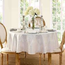 70 in round white elrene barcelona damask fabric tablecloth