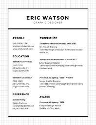 Black and White Lines Minimalist Resume