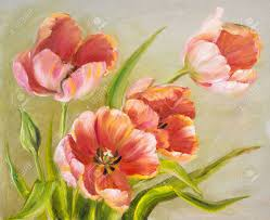 vintage red tulips oil painting on canvas stock photo picture