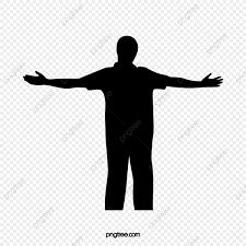 無料ダウンロードのための黒色は両手の影を広げて 人影 ジェスチャー