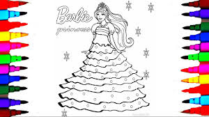 How To Draw Barbie Princess Dress L Barbie Coloring Pages With