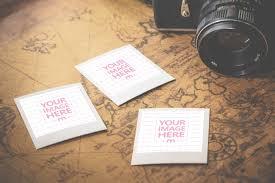 3 Polaroids On Old Map Template Mediamodifier