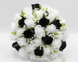 black white bouquet etsy Wedding Bouquets Black And White artificial wedding flowers, black & white rose brides bouquet posy black and white silk wedding bouquets