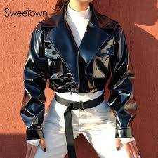 sweetown steampunk er leather jacket women 2018 autumn fashion pu chaqueta mujer streetwear black cropped coats and jackets nice jackets straight