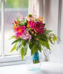 Wedding Bouquet - bright pink dahlias, pale garden roses and peach roses  with a blue