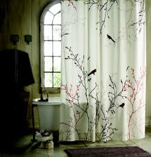 oriental bird and branch patterned shower curtains sets for bird bathroom decor