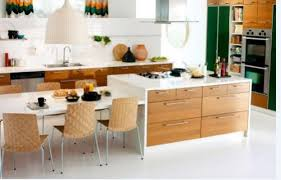 table for kitchen: dining table side by side with kitchen island