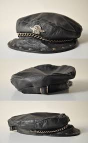 vintage harley davidson biker leather cap black leather hat captain s hat by thelittlebiker
