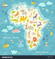 Animals World Map, Africa. Beautiful Colorful Illustration For Children,  Kids. Africa Map
