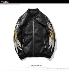 2019 new spring and autumn men s pu leather indian embroidery motorcycle clothing 2018 men s casual fashion leather jacket from dengfengzaoji01