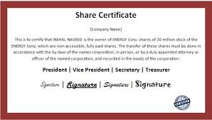 Business Share Certificate Template Word Excel Templates
