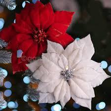 Poinsettia Christmas Tree Lights Uk 24cm White Or Red Fabric Poinsettia Christmas Decoration