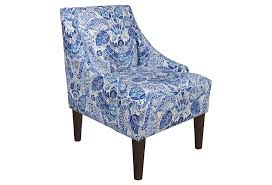 blue and white swoop arms accent chair with unique pattern upholstery gorgeous blue and white
