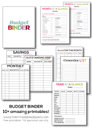 the ultimate printable budget binder featuring 10 amazing printables from thirtyhandmadedays