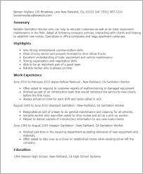 Resume Templates: Sanitation Worker