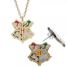 harry potter hogwarts school crest jewelry set necklace and earrings