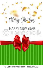 Merry Christmas 2019 New Year Greeting Card Red Gift Bow Vector