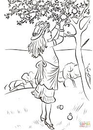 Small Picture Girl Picking Apples coloring page Free Printable Coloring Pages