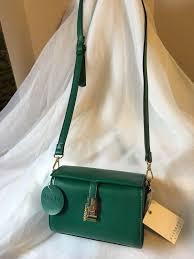 isabelle handbag vegan green leather cross purse bag with label