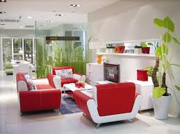 Open Kitchen Partition Stylish Curved Red White Sofa Set In A Modern Living Apartment