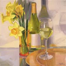 a glass of chardonnay white wine art painting still life flowers oil on canvas