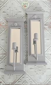 pair of mirror grey wall scones wall lamp lights hand painted ornate wood scones