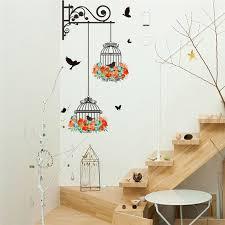 wall art flying bird birdcage wall sticker flower home decor pvc decal poster