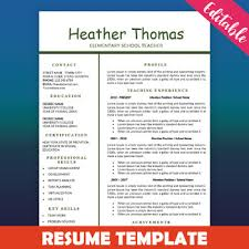 One Page Resume Fascinating Teacher Resume Template Education Resume One Page CV Template By