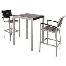 outdoor furniture white. Surf City Textured Silver 3-Piece Plastic Outdoor Patio Bar Set With Charcoal Black Slats Furniture White U