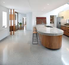 Elegant Durability Polished Concrete Floors: Modern Kitchen Island With  White Granite Top Also Polished Concrete
