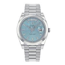 new and pre owned branded gold and diamond watches price for mens rolex rolex daydate ice blue dial platinum mens watch
