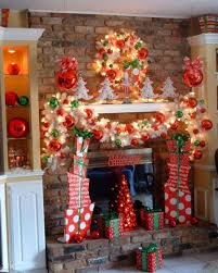 Decorations:Great Traditional Living Room With Brickwork Wall And Stone  Fireplace Also Christmas Party Decorating