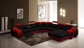 4084 sectional sofa with recliners in black and red leather furnituregallerynyc