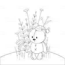 こどもの漫画の動物の塗り絵幼児かわいいクマの教育課題 お絵かきの