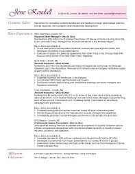 Example Resume  Makeup Artist Resume Objective  sales experience
