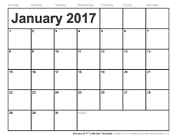 blank calendar jan 2017 printable | Printable Online Calendar