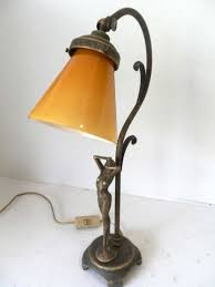 Details About Lamp For Bedside Table Lampshade Table Brass With Woman Glass Yellow