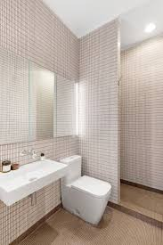 bathroom with geometric tile